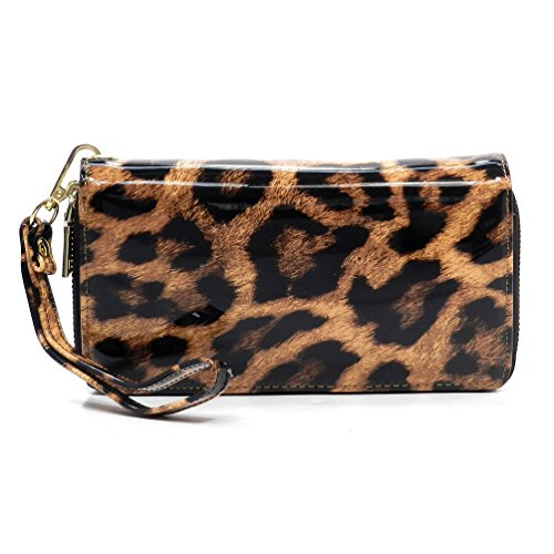 Faux Patent Leather Glossy Leopard Double Zip Around Clutch Wallet Wristlet (Brown Patent Faux Leather)
