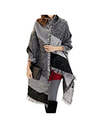 FENTI Winter Fashion Stylish Fringe Plaid Scarf, Cashmere Feel Long Pashmina