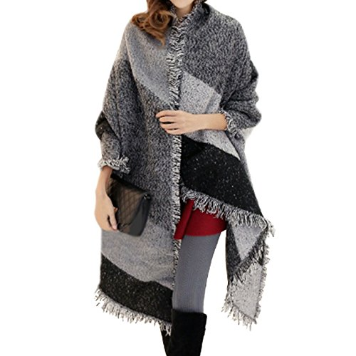FENTI Winter Fashion Stylish Fringe Plaid Scarf, Cashmere Feel Long Pashmina , Grey Black White , 98*26 inch (Wool White Scarf)