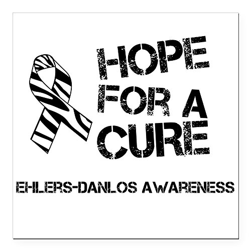 CafePress - Ehlers Danlos Hope for A Cure Zebra Ribbon Square - Square Car Magnet, Magnetic Bumper Sticker