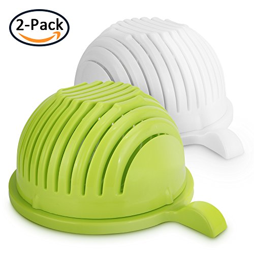 [2-PACK] Salad Cutter Bowl, Multi-Function Vegetable Fruit Home Made Salad Value Pack Quick Salad Maker Easy Chopper Slicer Strainer, (Easy Slicer)