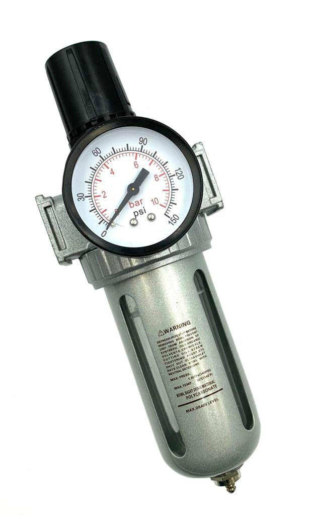 BRUFER AFR80 Air Filter Regulator Combo 1/2'' NPT with Gauge and Bracket (T-Handle), 5 Micron Element, Poly Bowl, Manual Drain - Compressor Air Filter Air Pressure Regulator by BRUFER Quality Products