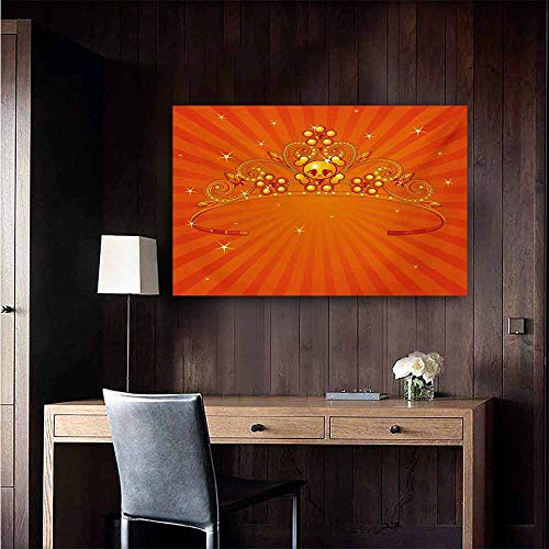 (duommhome Queen Light Luxury American Oil Painting Fancy Halloween Princess Crown with Little Skull Daisies on Radial Orange Backdrop Stars Home and Everything 24