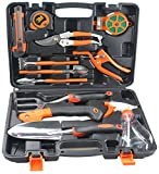 Annymall Garden Tool Set, 13 Piece Garden Heavy Duty Tools Home Improvement Tool Kit with Hard Storage Case, Secateurs, Pruning Saw, Trowel Pruners, Rakes - Garden Gifts for Men & Women (13-Piece)