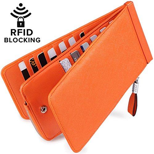 Huztencor Women's Credit Card Holder RFID Blocking Leather Multi Card Organizer Wallet Slim Long Zipper Bi-fold Business Card Case Clutch Wallet with ID Window Orange (FBA) (Womens Checkbook Wallets Leather)