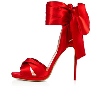 eec43d59ab9d Amy Q Sexy Women s Red Satin High Heel Sandals with Slim Platform Extreme High  Heels Ladies