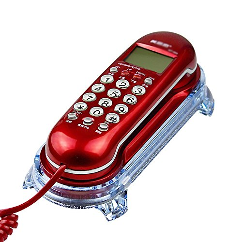 WF Telefono Teléfono/Fijo / Montaje en Pared/Mini suspensión/tamaño 245 * 65 * 35 mm (Color : Red)