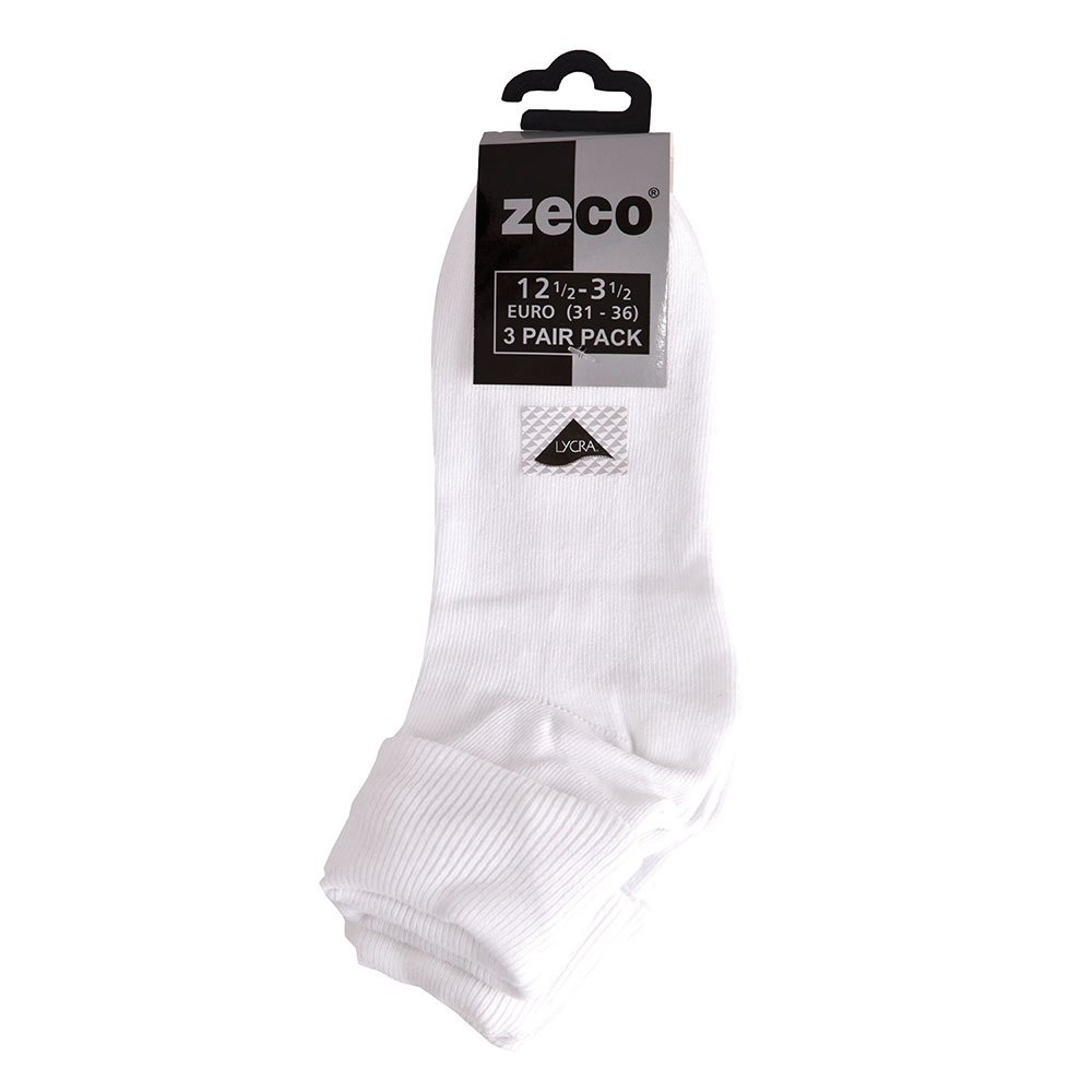 School Uniform Girls Turnover Top Socks (3 Pairs per Pack) Cotton Rich White Socks with Lycra for Stretch