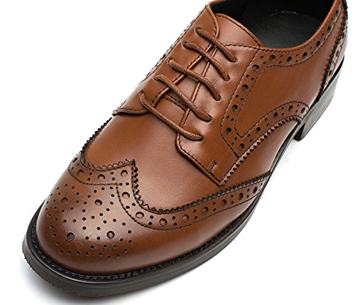 Marrón Leather Cã³modo Low Wingtip Brogue Shoes Oxfords Mujeres Office Las Simplec Perforaron Heel Vintage nIxSBOaq8w