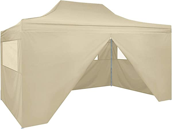 vidaXL Carpa Jardín Plegable Pop-up 4 Paredes Acero Tela Crema 3x4, 5m Cenador: Amazon.es: Jardín