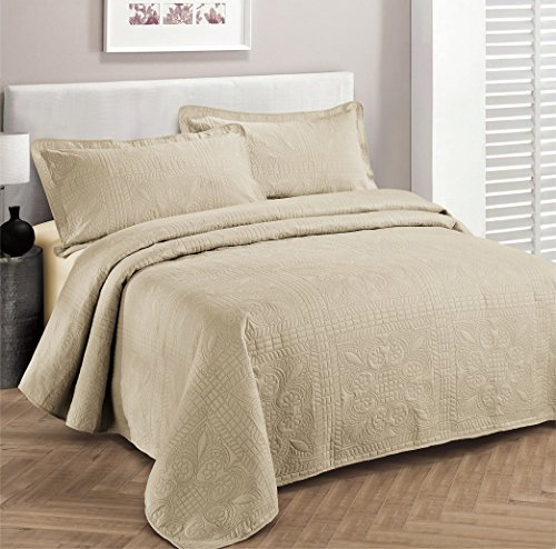 Fancy Collection 3pc Luxury Bedspread Coverlet Embossed Bed Cover Solid Beige New Over Size 100 X106 Full Queen