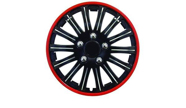 4 Tapacubos Rojo Negro 15 coppe Tachuelas para rueda Chevrolet Kalos: Amazon.es: Coche y moto