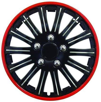 4 Tapacubos Rojo Negro 15 coppe Tachuelas para rueda CITROEN C4 ...