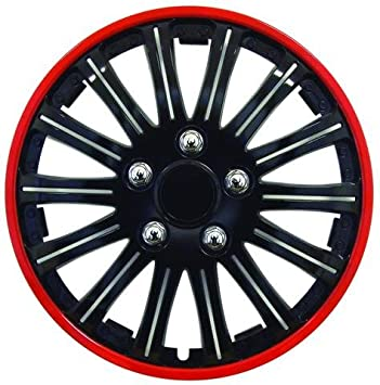 4 Tapacubos Rojo Negro 14 coppe Tachuelas para rueda CITROEN C1