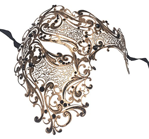 Luxury Mask Men's Signature Phantom of The Opera Half Face Metal Mask -
