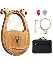 Lyre Harp,16-String Harp Solid Wood Mahogany Lyre Harp with Carrying Case/Tuning Key/Spare String, for Music Lovers Beginners Children Adults (Color : Wood Color)