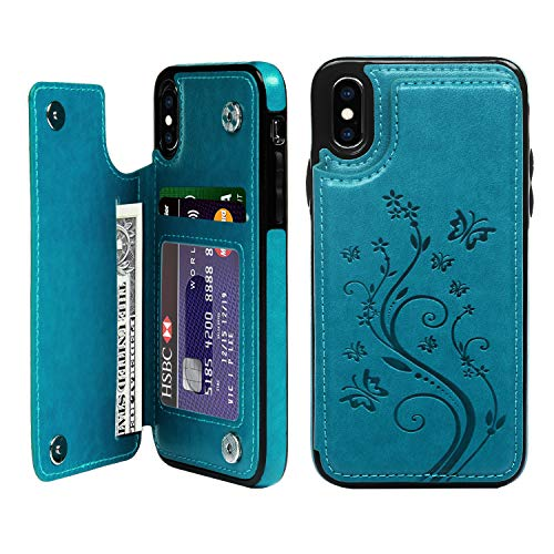iPhone X Card Holder Case, iPhone Xs Wallet Case PU Leather Kickstand Cover TPU Shockproof Shell with Credit Card Slot Durable Protective Skin for iPhone X & iPhone Xs, Blue