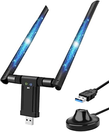 WiFi USB Adaptador 1200Mbps Antena WiFi USB 3.0 WiFi Dongle 5dBi Receptor WiFi Dual Band (5.8G/867Mbps+2.4G/300Mbps) para PC con Windows XP/Vista / ...