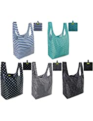 Reusable Grocery Bags Set, Grocery Tote Foldable into Attached Pouch, Ripstop Polyester Waterproof Reusable Shopping Bags, Washable, Durable and Lightweight (Classic Pattern 5 Pack)
