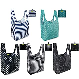 Reusable Shopping Bags Grocery Tote Bags Foldable into Attached Pouch, Ripstop Waterproof Reusable Gift Bags, Washable, Durable and Lightweight (Classic Pattern 5 Pack)