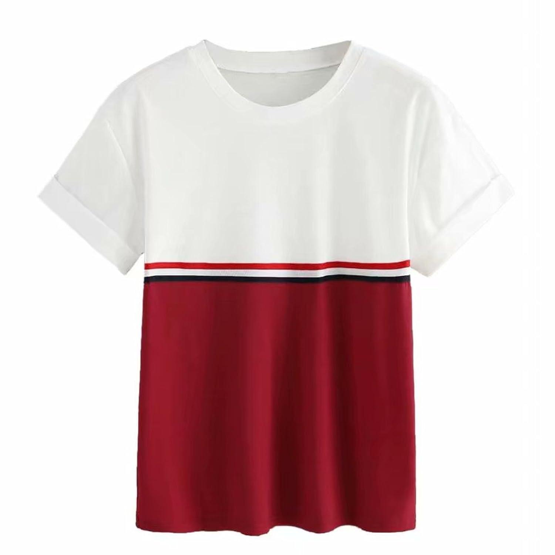 abc6f32fa73613 Doublehero Damen Streifen O-Ausschnitt Kurzarm Patchwork T-Shirt,Sommer  Freizeitshirt Sport Oberteile