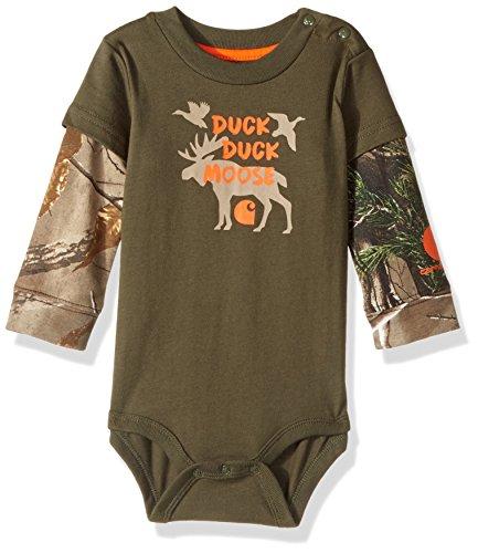 Carhartt Baby Little Boys' Long Sleeve Bodysuit, Moose Dark Green, ()
