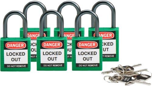 Brady 118956 Green, Brady Compact Safety Lock - Keyed Alike (6 Locks) by Brady