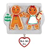 Personalized Made with Love Family of 2 Christmas Ornament - Couple Sibling Friend Gingerbread Cookie Roller Pin on Tray Dangling Heart - First Romantic Tradition 1st - Free Customization (Two)