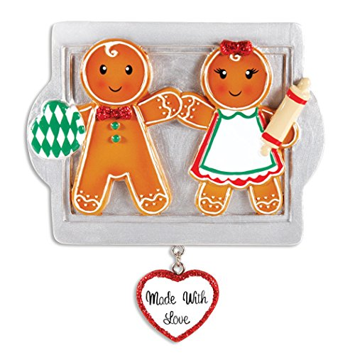 Personalized Made with Love Family of 2 Christmas Tree Ornament 2019 - Sibling Friend Gingerbread Cookie Roller Pin on Tray Dangle Heart Romantic Tradition 1st Gift Year - Free Customization (Two)