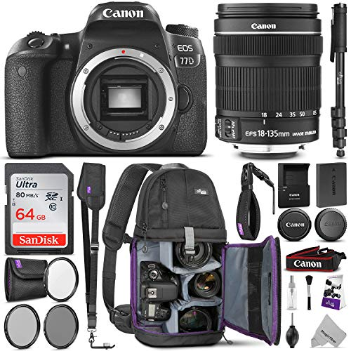 Canon EOS 77D DSLR Camera with 18-135mm is USM Lens w/Advanced Photo & Travel Bundle – Includes: Altura Photo Backpack, SanDisk 64gb SD Card, Monopod, Filter Kit, Neck Strap and Cleaning Kit