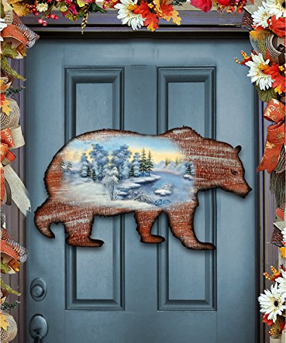 G.DeBrekht Grizzly Bear Scenic Wildlife Nature Keepsake Rustic Vintage Wooden Door Hanger, Wall decor (Bear Wreath Hanger)