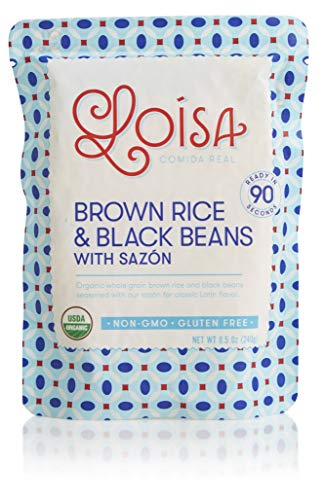 Loisa Organic Brown Rice & Black Beans with Sazon (Ready to Heat), Non-GMO, Gluten-Free, Vegan, Microwaveable or Stove, Ready in 90 seconds, 8.5 Oz Pouch (3 Pack)