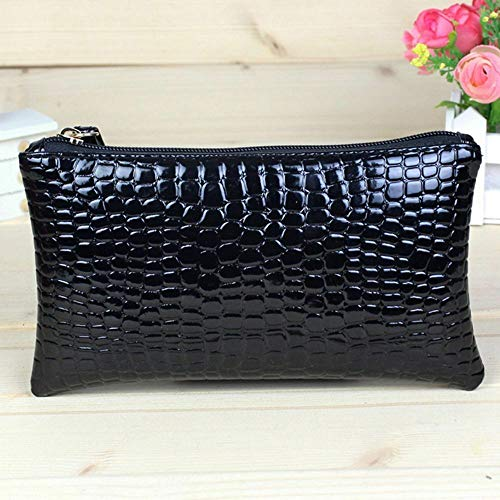 Elegant Gift Long Purse Crocodile Coin Purse Portable Bag Wallet Crocodile Bag (color - Black)]()
