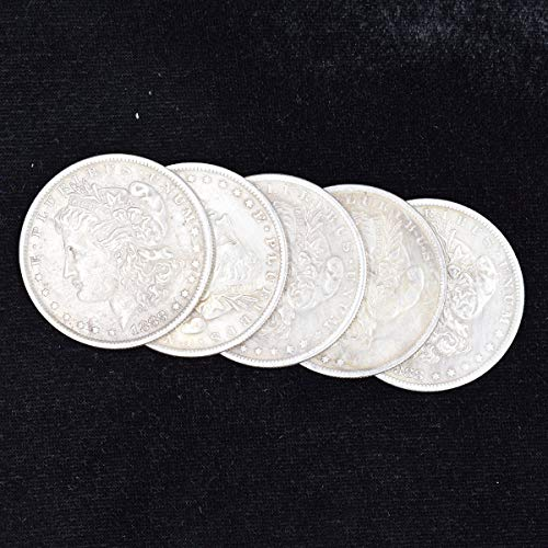 WSNMING 5 Pcs Steel Morgan Dollar ( 3.8cm Dia) Magic Tricks Can Be Sucked Props Accessories Used Appearing/Disappearing Coin Magie Props