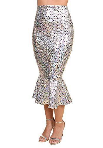 Sidecca Faux Leather Wet Look Metallic Mermaid Costume Maxi Skirt (X-Large, Mid Length Scale -