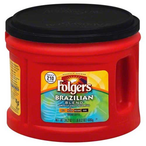 Folgers Caffeinated Brazilian Blend Ground Coffee, 24.2 Ounce -- 6 per case. by Folgers