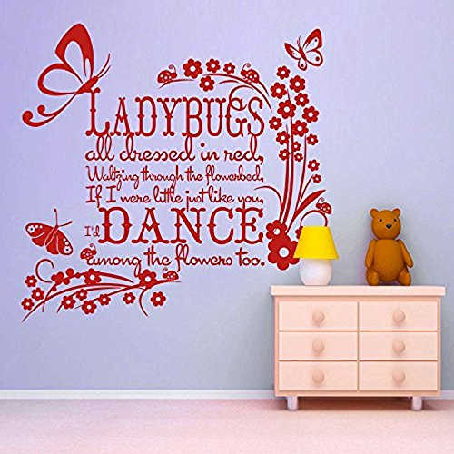 Vinyl Wall Decal Ladybugs All Dressed in Red Beautiful Girls Butterfly Girly Girls Room Art Tomato RedVinyl Decor Sticker BR2249