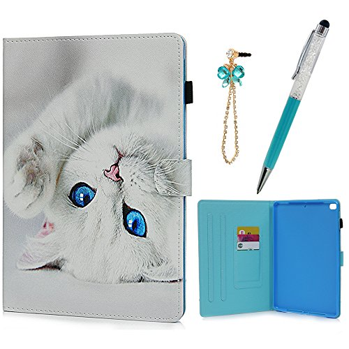 iPad Air/Air2/iPad 9.7 inch 2017 Case, KASOS Colorful Drawing PU Leather TPU Inner Smart Tablet Case with Auto Sleep Wake Function Card Holders Slim Fit Stand Cover & Dust Plug & Stylus - Cat
