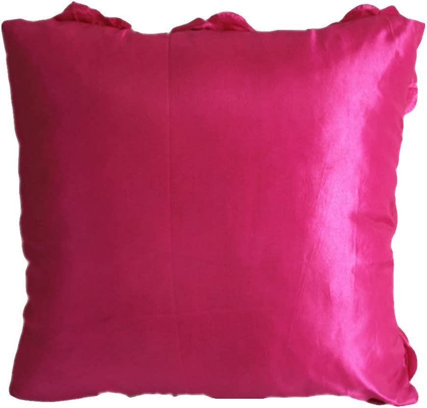 Pink 2 Pcs - 3D Solid Color Satin Rose Flower Square Pillowcase Bed Sofa Cushion Pillow Case Arts Decorative Cover Rose Flowers Throw Pillow Covers Protector WOMHOPE Set of 2 PC Same Color