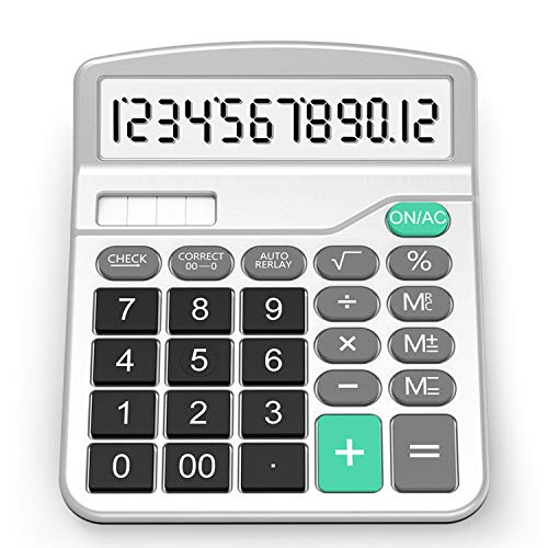 Calculator, Splaks Standard Functional Desktop Calculator Solar and AA Battery Dual Power Electronic Calculator with 12-Digit Large ()