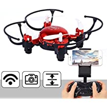 Lanlan Mini RC-Helicopter Remote Speech Control Quadcopter Set Height Wifi Drone Aircraft Toys as Xmas Gifts red
