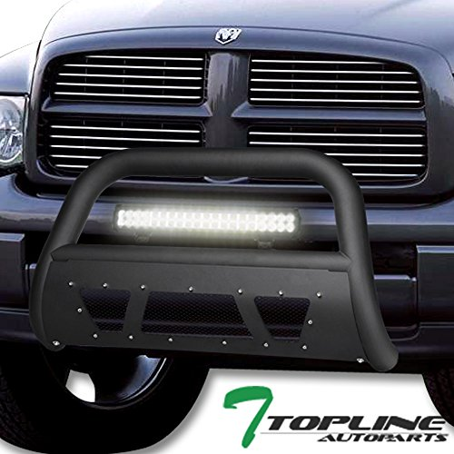 Topline Autopart Matte Black Studded Mesh Bull Bar Brush Push Front Bumper Grill Grille Guard With Skid Plate + 120W CREE LED Fog Light For 02-05 Dodge Ram 1500/06-08 1500 Mega Cab / 03-09 2500 3500