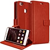 Original Ziaon(TM) Len Series 100% Faux Leather Flip Stand Wallet Case with Two Credit Card Slots & Magnetic Slots For Huawei Honor 8 Smart - Redish Brown
