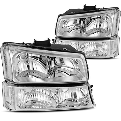 Headlight Assembly kit for 03 04 05 06 Chevy Avalanche / 03-07 Chevrolet Silverado 1500HD / 03-06 Chevrolet Silverado 2500HD Headlamp,Chrome Housing with Tinted Signal Driving Light,2 Year Warranty