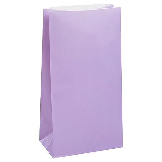 Unique Party- Paquete de 12 bolsas de regalo de papel, Color lavanda, 30 (59020)