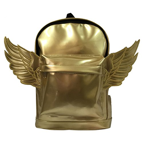 Kids Backpack Fashion Woman Mini Backpack Kindergarten Toddler Daypack Bag Lady Purse With Angel Wings Metallic Gold ()