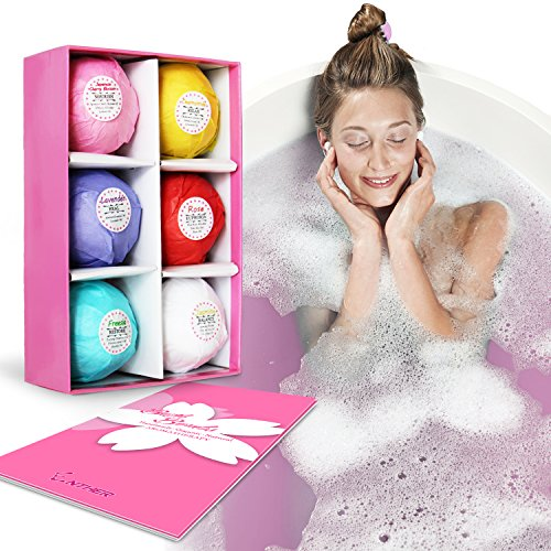 Enther Bath Bombs Gift Set of 6,Lush Fizzy Spa,Organic & Natural Ingredients for Dry Skin Moisturize,Perfect for Bubble & Spa Bath,Best Gift Ideas for Women/Men,Her/Him,Mom,Wife
