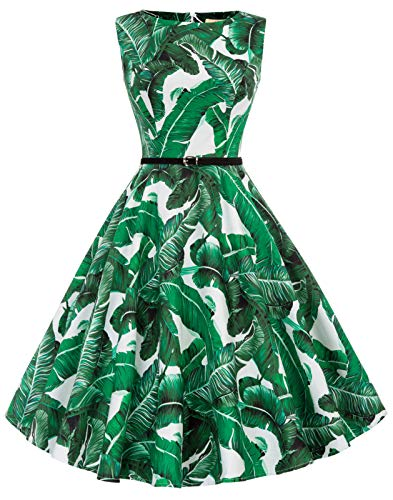 - GRACE KARIN Green Leaves Sleeveless Vintage Dress Evening Dress Size L F-66