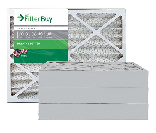 AFB Silver MERV 8 18x25x4 Pleated AC Furnace Air Filter. Pack of 4 Filters. 100% produced in the USA.
