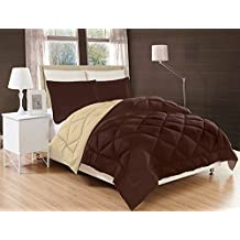 Elegant Comfort All Season Comforter and Year Round Medium Weight Super Soft Down Alternative Reversible 3-Piece Comforter Set, King, Chocolate Brown/Cream